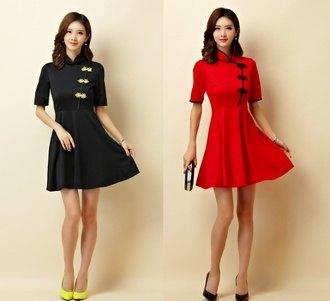 天使嫁衣【J2K9950】紅色中大尺碼中袖盤扣改良式旗袍款洋裝小禮服˙現貨特價