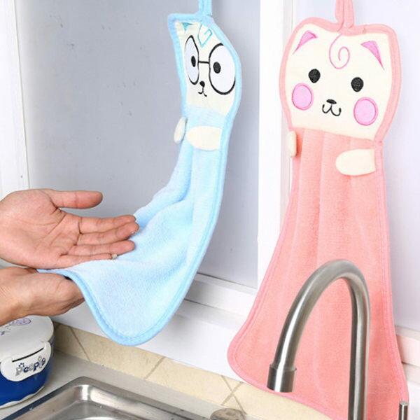 PSMall廚房可愛加厚掛式擦手巾強吸水洗碗毛巾抹布卡通小貓擦手布【J320】