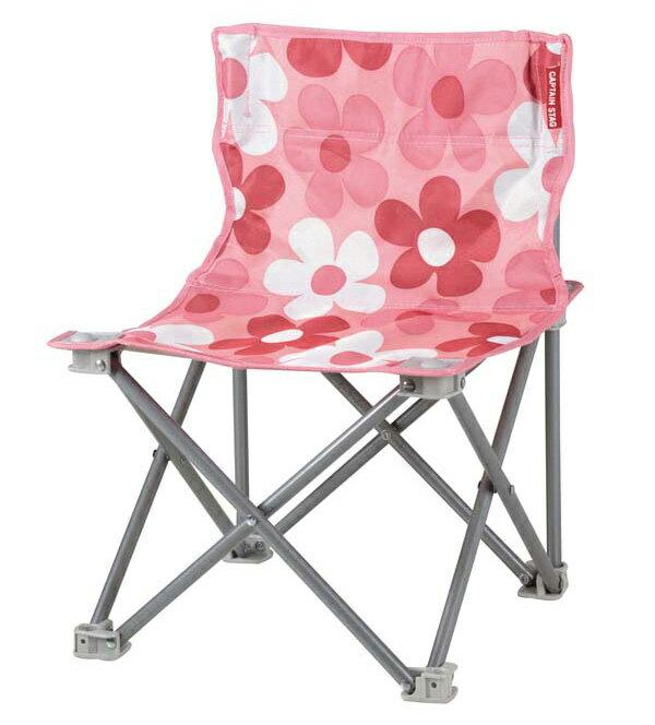【CAPTAIN STAG 鹿牌 日本】花花野營椅 折疊椅 釣魚椅 童軍椅 休閒椅 粉紅色 (UC-1594)