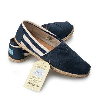 【TOMS】藍色寬條紋學院風平底鞋 Navy Stripe University Women\