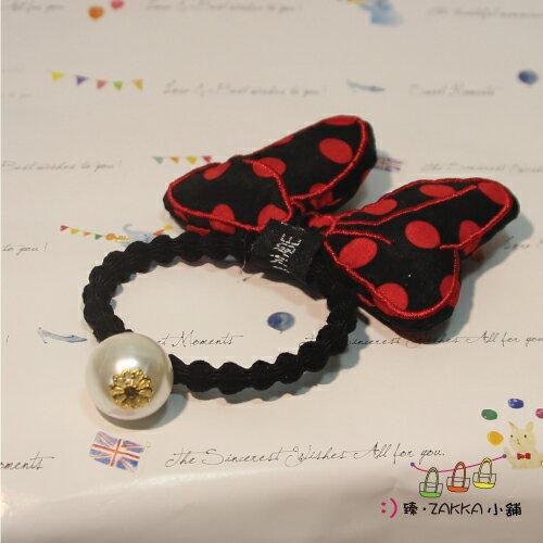 飾品耳環手鍊-米妮蝴蝶結髮束-黑紅點*臻ZAKKA小舖*
