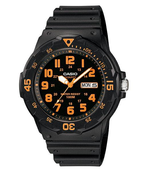 CASIO 潛水風格潮流指針錶-黑x橘(MRW-200H-4BVDF)