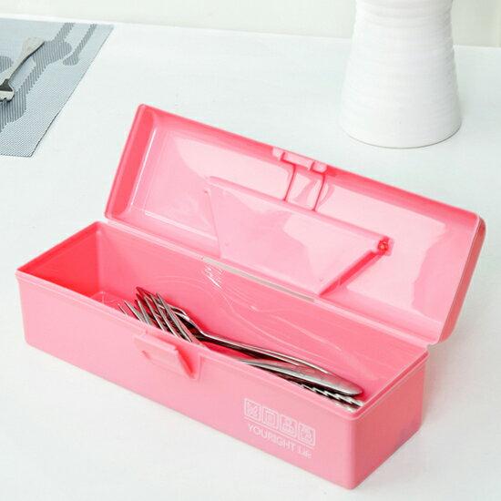 ♚MY COLOR♚桌面提手矩形收納盒 文具 工具 糖果色 化妝品 餐具 藥盒 分類 材料