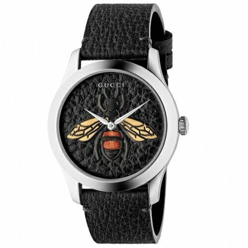 GUCCIG-Timeless前衛浮刻蜜蜂牛皮時尚腕錶黑1264067