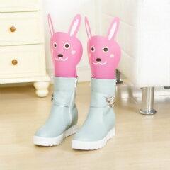 WallFree窩自在★卡通 可調高度靴撐片彈力靴撐-粉色兔子