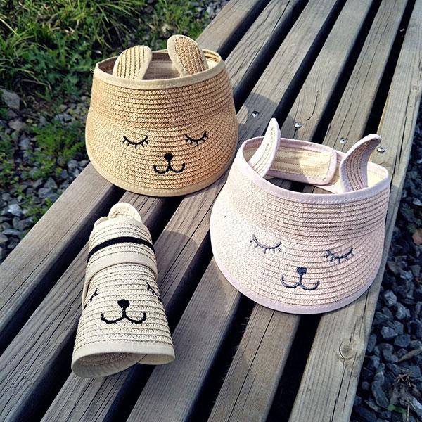 ins兔子草帽遮陽帽帽子童可折可愛好收納兔耳朵防曬ANNAS.