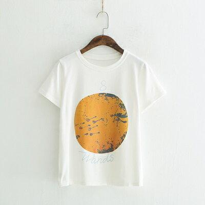 短袖T恤圓領上衣-地球印花時尚休閒女打底衫2色73sy25【獨家進口】【米蘭精品】