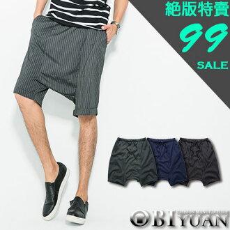 短褲【K99023】OBI YUAN韓版簡約直條紋抽繩休閒褲飛鼠褲 共3色