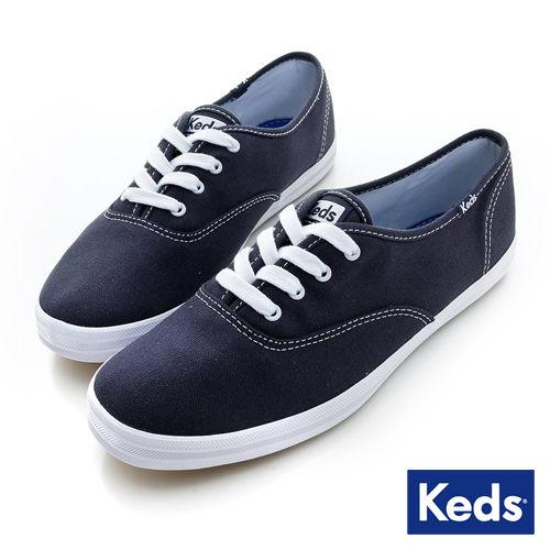 Keds 品牌經典休閒鞋-海軍藍 套入式│懶人鞋│平底鞋│綁帶