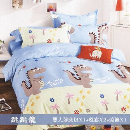 柔絲絨5尺雙人薄床包涼被組4件組「跳跳龍」【YV9648】快樂生活網