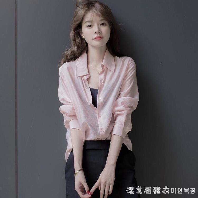 海鹽色天絲棉麻上衣女2021早秋裝新款洋氣御姐輕熟風氣質職業襯衫 凡卡時尚