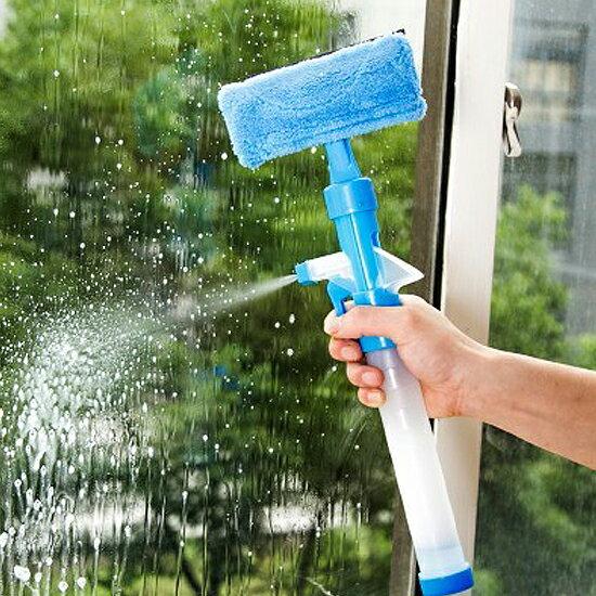 ♚MY COLOR♚多功能玻璃清潔器 刮水 噴水 雙面 窗戶 一體式 洗車 家務 噴霧 抹布【R24】