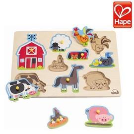 Baby Joy World-德國Hape-educo愛傑卡農場動物木拼圖