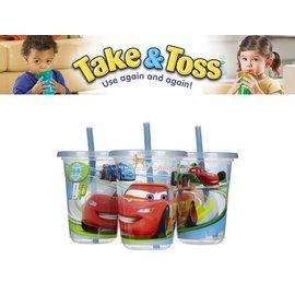 Baby Joy World-美國 【The First Year】Take & Toss 防漏學習杯10oz 3入/組-Cars