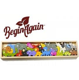 【美國 Begin Again】 ABC純木質拼圖 (動物嘉年華系列)