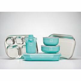 兒童餐具-Baby Joy World-總代公司貨-【美國Kangovou 小袋鼠】不鏽鋼安全兒童餐具組-薄荷綠