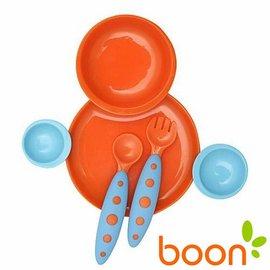 兒童餐具-Baby Joy World-【美國boon】互組碗盤兒童湯叉餐具組-橘藍(BN01094)