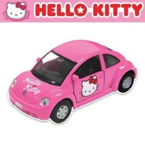 汽車造型玩具-Baby Joy World-韓國原裝進口Hello kitty 汽車模型 迴力車-金龜車