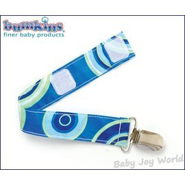 奶嘴鍊防落帶-Baby Joy World-美國Bumkins Pacifier Clip 奶嘴夾鍊-藍色圈圈(PC-430)