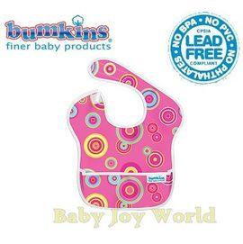 圍兜口水巾-美國Bumkins Super Bib透氣防水防臭兒童圍兜口水巾-【3個月~2歲適用(無袖)】-粉紅圈圈(S420)