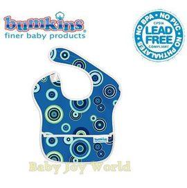 圍兜口水巾-Baby Joy World美國Bumkins Super Bib透氣防水防臭兒童圍兜口水巾-【3個月~2歲適用(無袖)】-藍色圈圈(S430)
