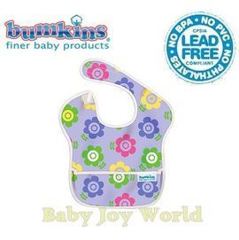 圍兜口水巾-美國Bumkins Super Bib透氣防水防臭兒童圍兜口水巾-【3個月~2歲適用(無袖)】-紫色花園(S226)