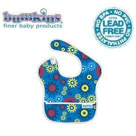 圍兜口水巾-美國Bumkins Super Bib透氣防水防臭兒童圍兜口水巾-【3個月~2歲適用(無袖)】-藍色齒輪(S690)