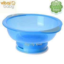 兒童學習碗餐具-Baby Joy World-英國vital baby【拔不起來】幼兒學習吸盤碗-水藍色