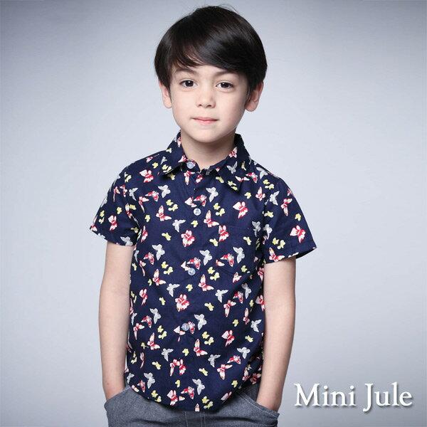《MiniJule童裝》襯衫鮮豔彩蝶單口袋短袖襯衫(寶藍)