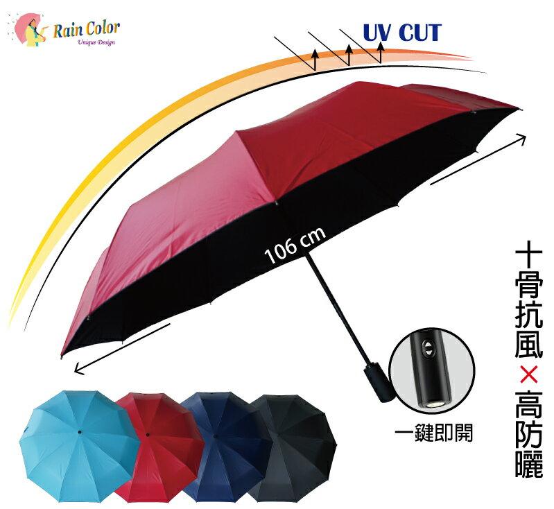 高防曬×大傘面_晴雨自動開收折傘(4色)【RainColor】KuJi Collection 0