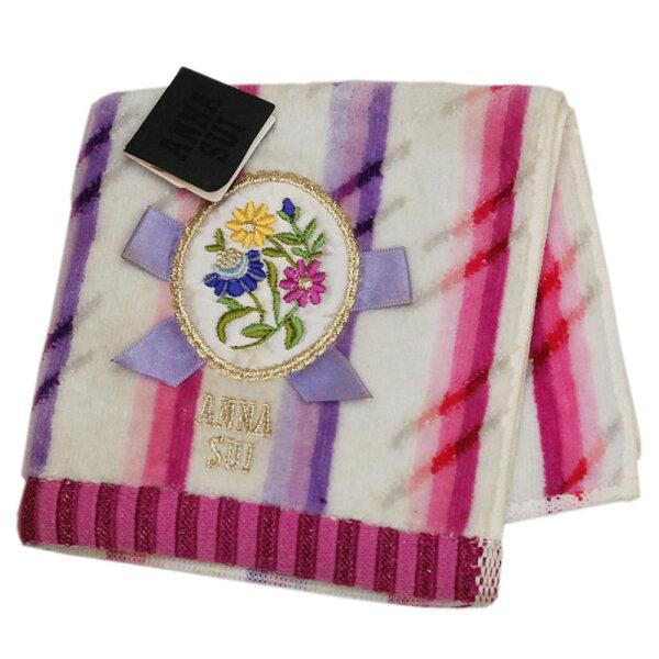 ANNASUI直條配色刺繡貼布LOGO小方巾(白)