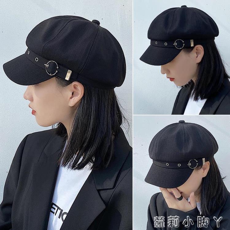 貝雷帽女韓版潮ins秋冬季英倫復古日系黑色蓓蕾畫家報童八角帽子