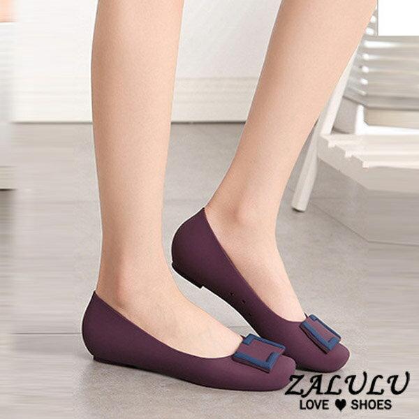 ZALULU愛鞋館 7U316 預購 熱銷款 搭色淑女款平底防水娃娃雨鞋-黑 / 灰 / 藍 / 紫-36-40 2