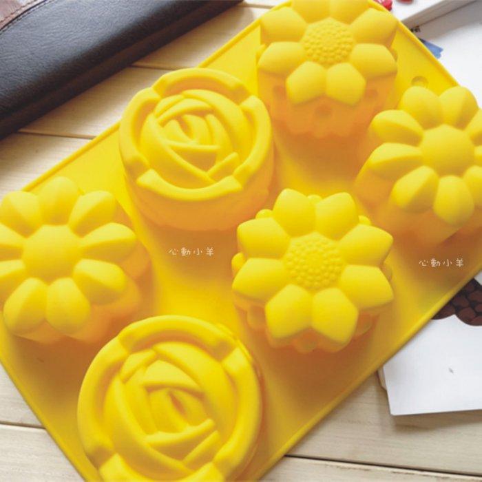 6孔玫瑰花卉3種款式巧克力蛋糕烘培食品級矽膠模 專業手工皂模具