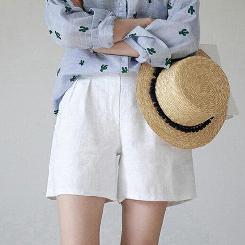 *ORead*韓版棉麻闊腿短褲(4色M~4XL) 2