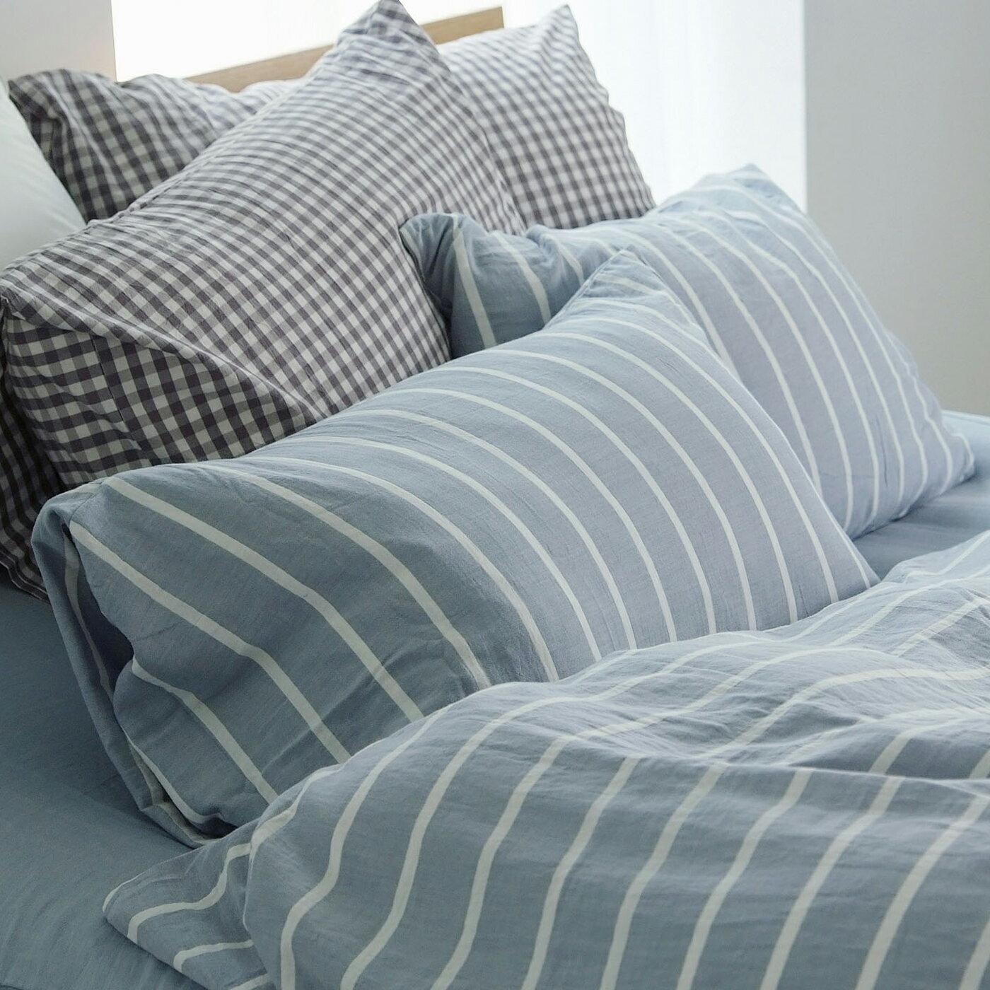 枕套-2入 [雙層紗-藍] 新疆棉寢織品;自然無印;簡約設計;翔仔居家