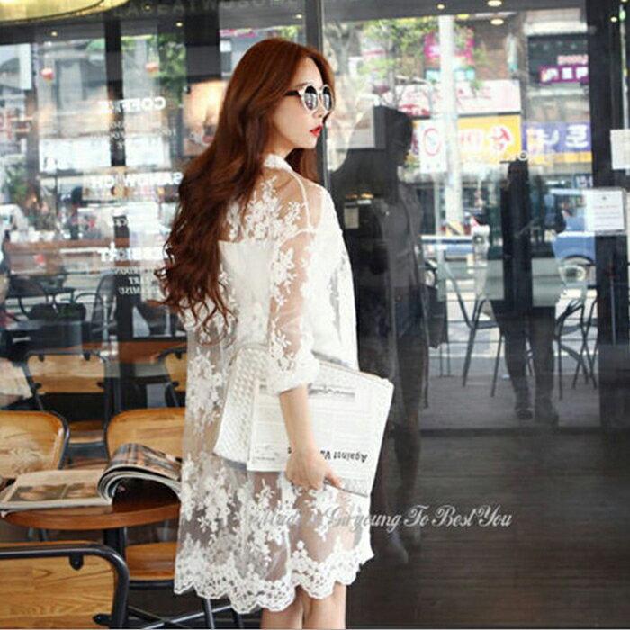 糖衣子輕鬆購【HY9803】韓版時尚性感蕾絲雪紡防曬長版薄外套