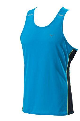 [陽光樂活] MIZUNO 美津濃 男 路跑背心 吸汗快乾 反光-J2TA600121 藍色