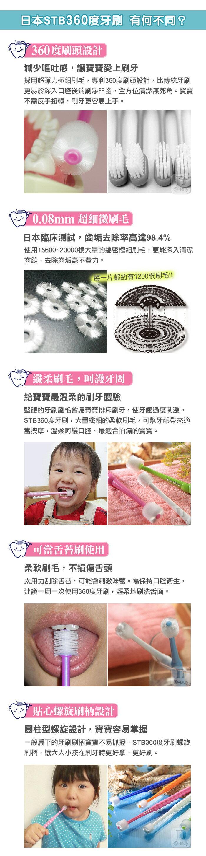 日本STB360度兒童牙刷  360度刷頭 兒童專用 STB 蒲公英 日本牙刷  3歲-~13歲 4