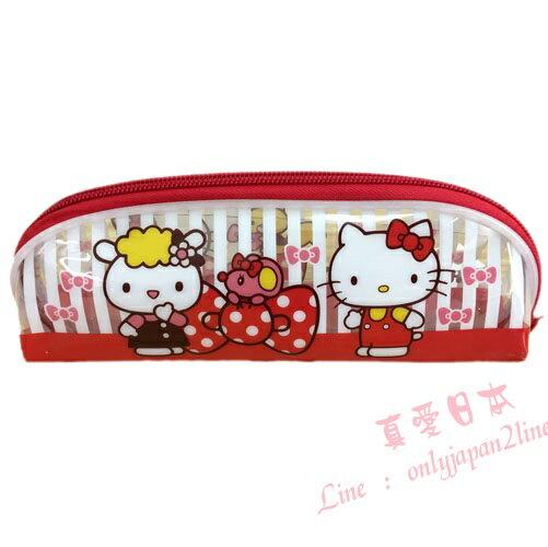 【真愛日本】16090500011透明條紋筆袋-KT紅   三麗鷗 Hello Kitty 凱蒂貓    收納 筆袋