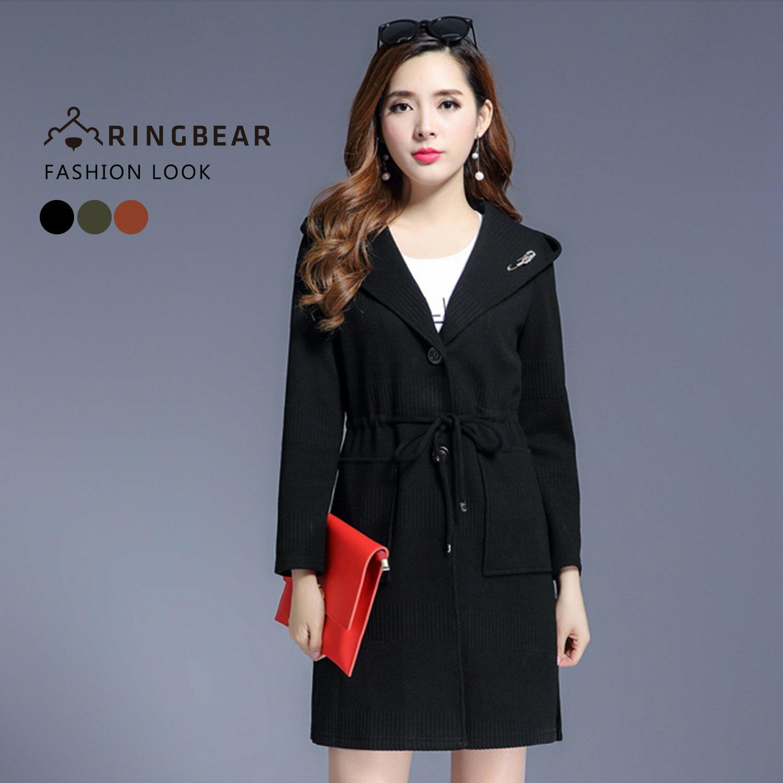 長版外套--優雅時尚連帽水鑽別針收腰抽繩貼式口袋外套(黑.咖.綠XL-3L)-J325眼圈熊中大尺碼 2