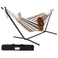 Double Hammock With Space Saving Steel Stand - Includes Portable Carrying Case, Desert Stripe