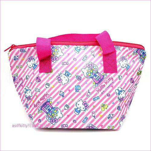 asdfkitty可愛家☆KITTY粉條紋輕量保溫保冷便當袋手提袋-日本正版商品