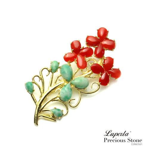 大東山珠寶萬年富貴天然紅珊瑚綠翡翠胸針