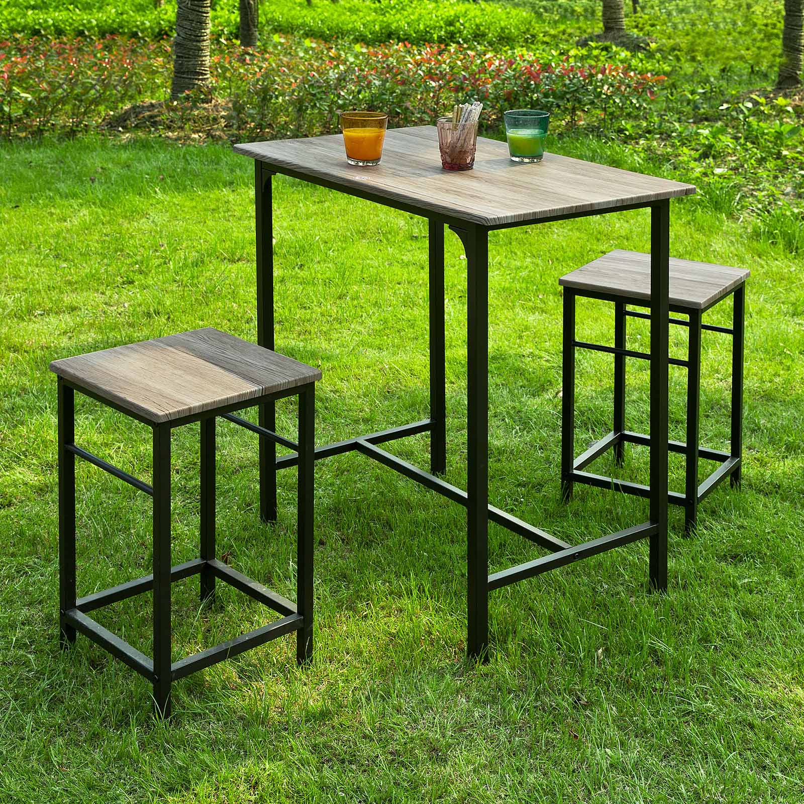 Perfect Haotian Sling High Bistro Set ,Home Kitchen Outdoor Garden Bar Set,Patio  Furniture,