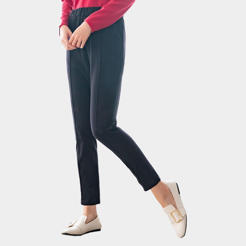 休閒褲--保暖時尚寬版鬆緊帶身側雙口袋素面毛呢哈倫褲(黑XL-5L)-P138眼圈熊中大尺碼 0