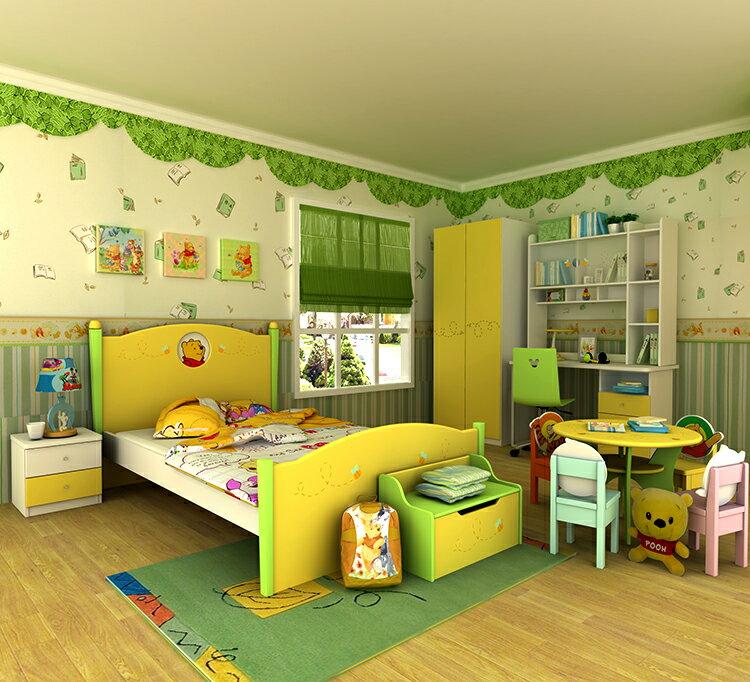 [首雅傢俬] 小熊 維尼 雙人床 房間組 ★含 雙人床架 床邊櫃 雙門衣櫃 書桌 不含轉椅及擺飾