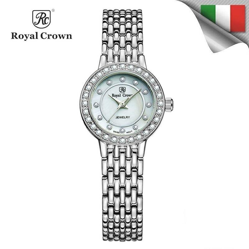 日本機芯 經典款式華貴氣質鑲鑽石英女錶 精鋼錶帶 雙色可選 3650S免運費 義大利品牌精品手錶 蘿亞克朗 Royal Crown