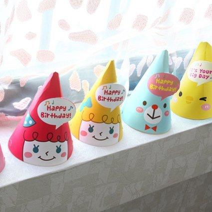 =優生活=韓國創意 兒童生日聚會派對可愛女孩 小雞 熊熊造型派對帽子 生日帽 party帽 頭飾 野餐派對 生日紙帽