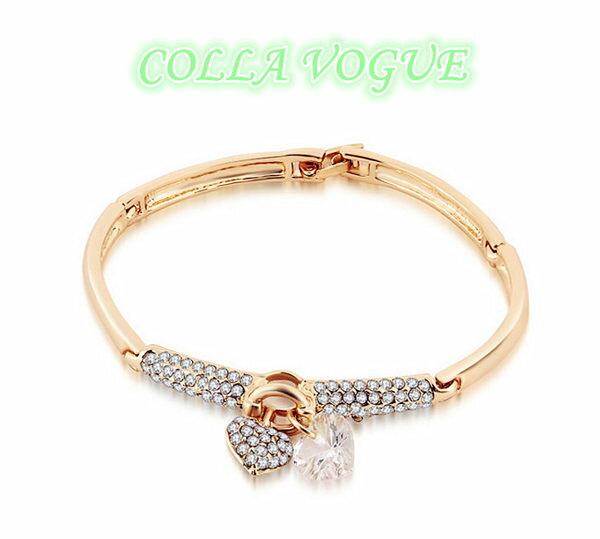 ?蔻拉時尚? [ASCC21-2] COLLA 嚴選進口瑞士鑽 滿鑽雙心之戀系列 精緻扣式手環 金銀兩色